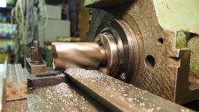 Velho geen a máquina de trituração, close up, metalúrgico filme