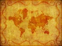 Velho, mapa de Grunge da ilustração do mundo Foto de Stock Royalty Free