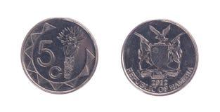 5 velhos moeda dollarcent, moeda namibiana Imagem de Stock