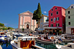 Veli Losinj harbor and colorful architecture. Island of Mali Losinj, Dalmatia, Croatia Royalty Free Stock Images