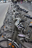 Velib自行车在巴黎,法国 图库摄影