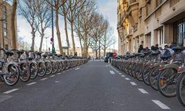 Velib bicycles Royalty Free Stock Photos