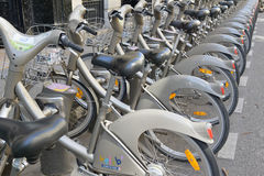 Velib Bike, a Bicycle share program in Paris. PARIS, FRANCE. CIRCA MAY 2015. Velib Bike, a Bicycle share program in Paris gives residents and tourists one more Stock Photo