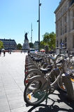 Velib bike rental station in Paris Royalty Free Stock Images