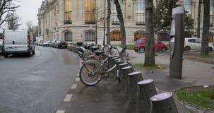 Velib Bike renting stock video footage
