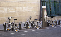 Velib bikes in Paris Royalty Free Stock Photography