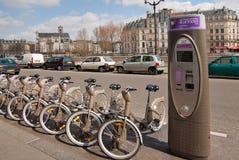 Velib Fahrräder, Paris Lizenzfreies Stockbild