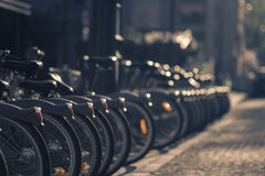 A Velib (public bicycle hire) Station in Paris, France Royalty Free Stock Photo