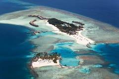 Veligandu Island, Alifu Atoll, Maldives. Aerial view of Veligandu Island, Alifu Atoll, Maldives royalty free stock photos