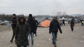 Horrific living conditions under tents in refugee camp in Bosnia. European migrant crisis