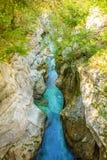 Velika Korita är kanjonen av den Soca floden i den Soca dalen, Slovenien royaltyfria foton