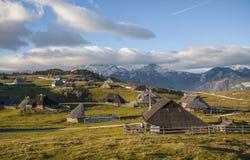 Velika Planina kulle, Slovenien Arkivfoto