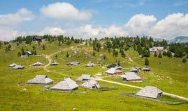 Velika Planina kulle, Slovenien Fotografering för Bildbyråer