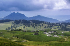 Velika Planina plateau. Is the largest Slovenian mountain pasture Royalty Free Stock Photos