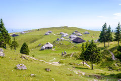 Velika planina plateau, Slovenia, Mountain village in Alps, wooden houses in traditional style, popular hiking stock images