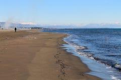 Velika Plaza - Great Beach and Albanian mountains (Montenegro, winter) Royalty Free Stock Photo