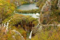 Veliki在普利特维采湖群国家公园的掴视图 免版税库存照片