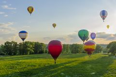 Group of the hot air balloons royalty free stock photo