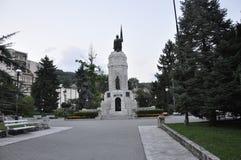 Veliko Tarnovo BG, am 15. August: Mutter-Bulgarien-Monument in der mittelalterlichen Stadt Veliko Tarnovo von Bulgarien Lizenzfreies Stockfoto