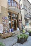 Veliko Tarnovo BG, 15 Augustus: Herinneringenwinkel in de Middeleeuwse stad Veliko Tarnovo van Bulgarije Stock Foto