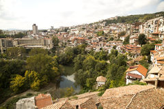 Veliko Tarnovo - Bulgaria. Veliko Tarnovo above the Yantra River. Town located on three hills,  famous as the historical capital of the Second Bulgarian Empire Royalty Free Stock Photos