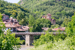 Veliko Tarnovo. Pedestrian bridge over the Yantra River Stock Photo