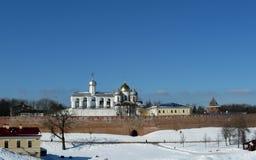 Veliky诺夫哥罗德,克里姆林宫,冬天 库存照片