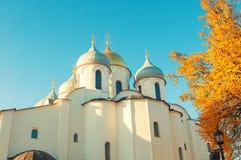 Veliky Novgorod, Ρωσία - άποψη αρχιτεκτονικής των θόλων καθεδρικών ναών Αγίου Sophia Στοκ εικόνες με δικαίωμα ελεύθερης χρήσης