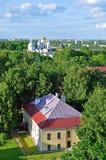 Veliky Novgorod (alte Stadt in Russland) von der Vogelschau Stockfotos