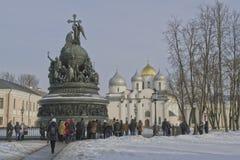 Veliky Novgorod el 22 de febrero de 2015 Monumento 1000 años de Rusia Foto de archivo