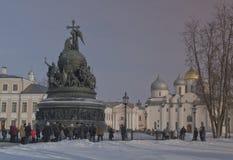 Veliky Novgorod el 22 de febrero de 2015 Monumento 1000 años de Rusia Foto de archivo libre de regalías