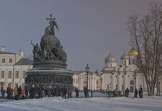Veliky Novgorod on February 22, 2015. Monument 1000 years of Russia. Royalty Free Stock Photo