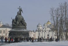 Veliky Novgorod on February 22, 2015. Monument 1000 years of Russia royalty free stock photos