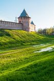 Veliky Novgorod Kremlin fortress and clock tower of Saint Sophia cathedral in Veliky Novgorod, Russia. Veliky Novgorod Kremlin fortress and clock tower of St stock image