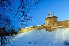 Veliky Novgorod Kremlin fortress in winter night in Veliky Novgorod, Russia, colorful winter night view. Veliky Novgorod Kremlin tower in winter night in Veliky stock images
