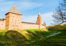 Veliky Novgorod Kremlin -Intercession, Kokui and Prince towers in summer evening in Veliky Novgorod, Russia. Veliky Novgorod Kremlin -Intercession, Kokui and royalty free stock images