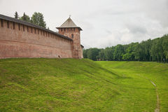 Veliky Novgorod. Kremlin. Veliky Novgorod. Russian Federation. View of the Kremlin wall, ditch and towers Stock Image