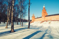 Veliky Novgorod Kremlin towers in winter day in Veliky Novgorod, Russia, panorama view. Veliky Novgorod Kremlin towers in winter day in Veliky Novgorod, Russia royalty free stock photos