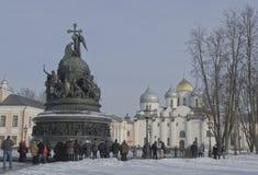 Veliky Novgorod le 22 février 2015 Monument 1000 ans de la Russie Photos libres de droits