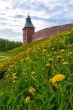 Veliky Novgorod, Rússia Paisagem da mola da arquitetura da torre do salvador do Kremlin de Veliky Novgorod, Rússia Imagens de Stock Royalty Free