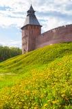 Veliky Novgorod, Rússia Paisagem do verão da arquitetura da torre do salvador do Kremlin de Veliky Novgorod, Rússia Fotos de Stock Royalty Free