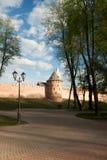 VELIKY NOVGOROD, ROSJA - 23 MAJ: Góruje Kremlowski forteca, ROSJA -23 2017 MAJ Zdjęcie Royalty Free