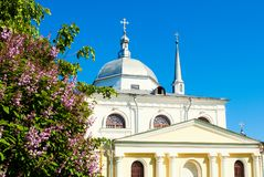 Veliky Novgorod, Russia. Architecture landscape of ancient Church of Nikita the Martyr Royalty Free Stock Photography