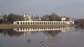 Cloudy April day on the Volkhov river. Veliky Novgorod, Russia. VELIKY NOVGOROD, RUSSIA - APRIL 16, 2018: Cloudy April day on the Volkhov river stock video