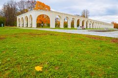 Veliky Novgorod, Russia. Arcade of the ancient Yaroslav courtyard in cloudy autumn day. In Veliky Novgorod, Russia Stock Image