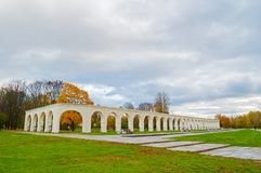 Veliky Novgorod, Russia. Arcade of medieval Yaroslav courtyard in autumn day. Veliky Novgorod, Russia -arcade of medieval Yaroslav courtyard in autumn day Stock Photo