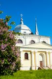 Veliky Novgorod, Russia. Architecture landscape of ancient Church of Nikita the Martyr Stock Image