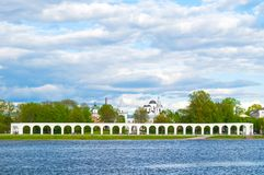 Yaroslav`s Courtyard and Volkhov river under dramatic sky in cloudy day in Veliky Novgorod, Russia. Veliky Novgorod, Russia, architecture view. Yaroslav`s Stock Photos
