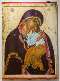 Our Lady of Tenderness, painted on old wooden board, 1460s Stock Photography