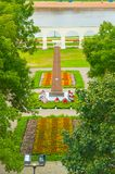 Yaroslav`s courtyard and the monument to heroes of Great Patriotic War in Veliky Novgorod, Russia - birds eye view. VELIKY NOVGOROD, RUSSIA - AUGUST 28, 2016 Stock Photos